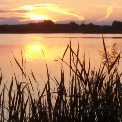 Sonnenuntergang mit Seeblick
